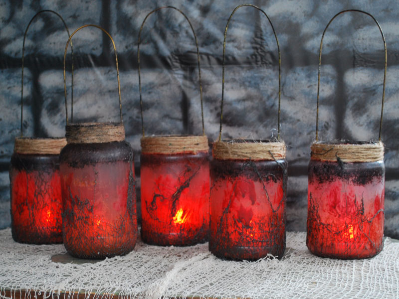 Lit Witch Lantern jars
